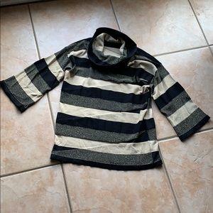 3/$30 Anne Klein Black Stripe Cowl Sweater Medium